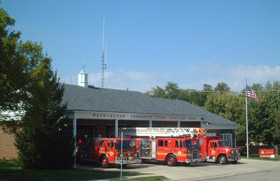 fire trucks outside station